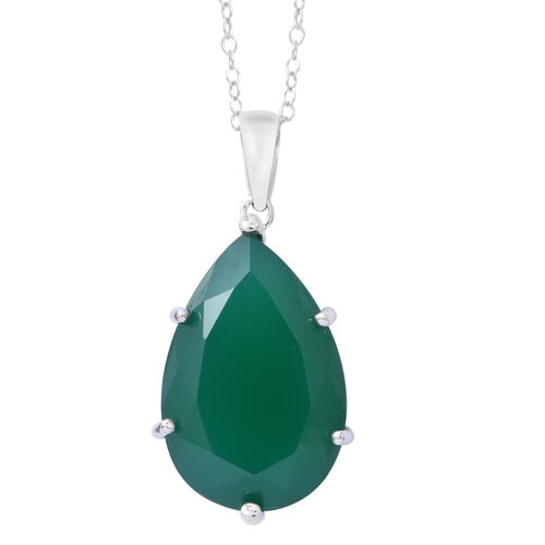 Rare Size  Verde Onyx (Pear 30X20 mm) Pendant with Chain (Size 30) in Rhodium Plated Sterling Silver