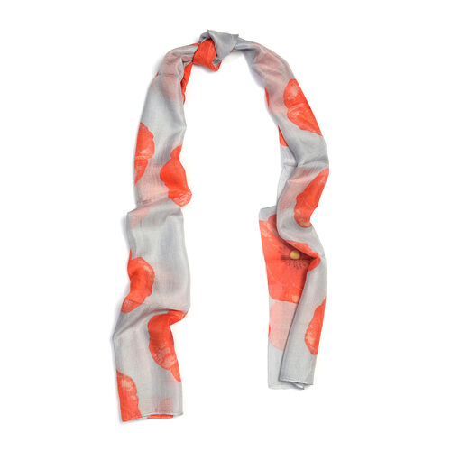 Last In Stock - 100% Mulberry Silk Coral Colour Flower Pattern Grey Scarf (Size 180X50 Cm)