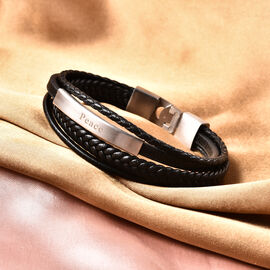 Engravable Genuine Leather ID Bracelet