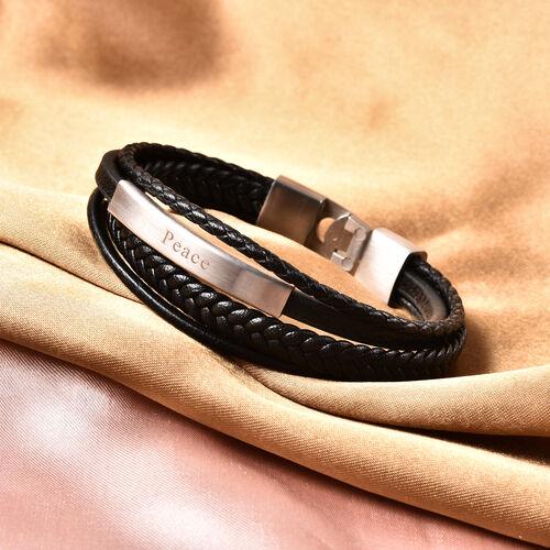 Engravable Genuine Leather ID Bracelet