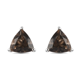 Smoky Quartz Solitaire Stud Earrings (with Push Back) in Platinum Overlay Sterling Silver 1.25  Ct.