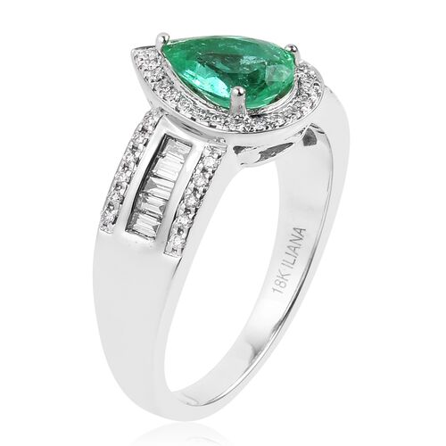 ILIANA 18K White Gold AAAA Boyaca Colombian Emerald (Pear 1.150 Ct) Diamond (SI/G-H) Ring 1.580  Ct, Gold wt 7.00 Gms.