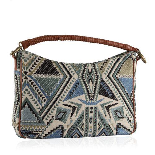 NEW SEASON Multi Colour Jacquard Handbag with Removable Strap (Size 44x25x10 Cm )