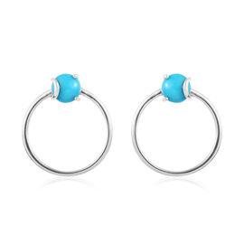 1.50 Ct Arizona Sleeping Beauty Turquoise Hoop Earrings in Platinum Plated Sterling Silver