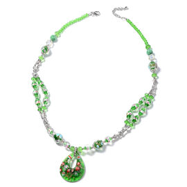 Murano Style Glass, Simulated Emerald, Green Quartzite, Simulated Mystic Glass Necklace (Size 28 and