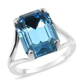 Aquamarine Colour Crystal from Swarovski Solitaire Ring in Sterling Silver