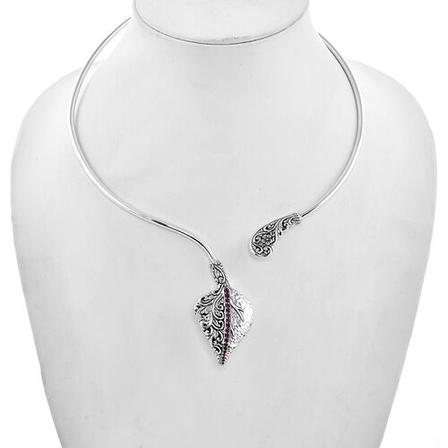 Bali Legacy Collection - African Ruby (Rnd) Leaf Collar Necklace (Size 16) in Sterling Silver Silver wt 30.40 Gms