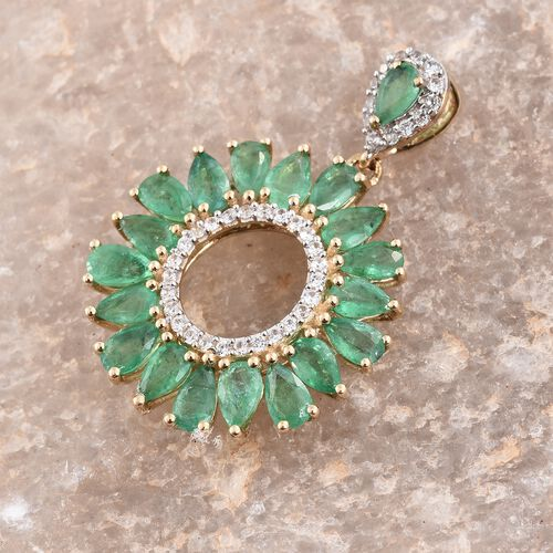 9K Yellow Gold Kagem Zambian Emerald (Pear), Natural Cambodian Zircon Pendant 4.000 Ct.