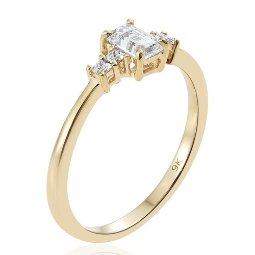 J Francis - 9K Yellow Gold (Oct) Ring Made with SWAROVSKI ZIRCONIA