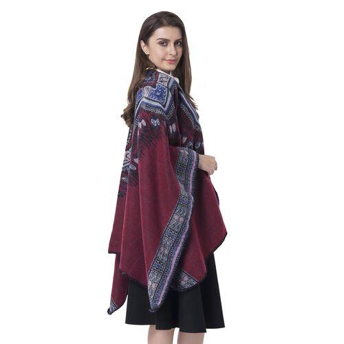 Designer Inspired- Red Colour Santa Fe Pattern Blanket Kimono (Size 150x130 Cm)