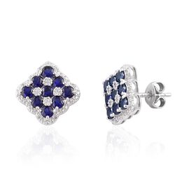 Tanzanite (Rnd), Natural Cambodian White Zircon Stud Earrings (with Push Back) in Rhodium Overlay Sterling Silver 2.230 Ct.