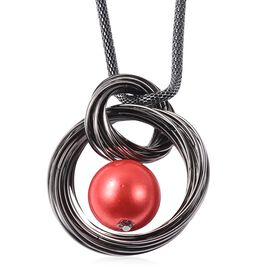 Simulated Red Pearl Circle into Circle Pendant with Chain in Black Plating 28 with 2 inch Extender