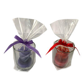2 Piece Set - Purple and Red Rose Candles in Glass (Size 5x4.5 Cm) - Rose Red