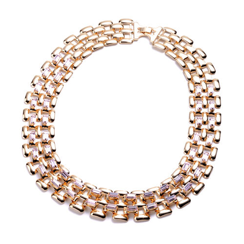 Designer Inspired- Pink Crystal- Panther Link Necklace (Size 20) in Gold Tone