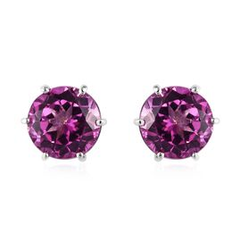Passionate Pink Topaz (Rnd) Stud Earrings (with Push Back) in Platinum Overlay Sterling Silver 4.750