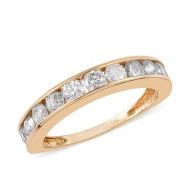 9K Yellow Gold SGL Certified Diamond (I3/G-H) Half Eternity Band Ring 1.05 Ct.