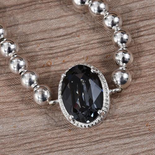J Francis - Crystal from Swarovski Silver Night Crystal (Ovl) Bracelet (Size 6.5-9.5 Adjustable) in Sterling Silver