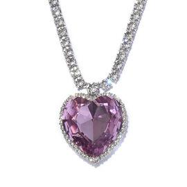 J Francis - Crystal from Swarovski Light Amethyst Crystal (Hrt 28 mm), White Crystal Necklace (Size