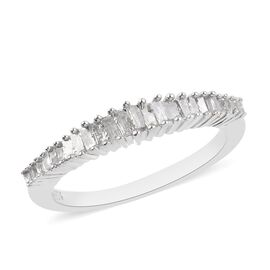 Natural Diamond (Bgt) Half Eternity Ring in Platinum Overlay Sterling Silver 0.25 Ct.