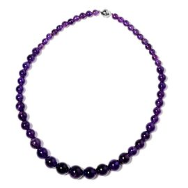 383 Ct Amethyst Beaded Necklace in Rhodium Plated Sterling Silver 20 Inch