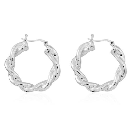 Sterling Silver Twisted Hoop Earrings (with Clasp), Silver wt. 6.00 Gms.