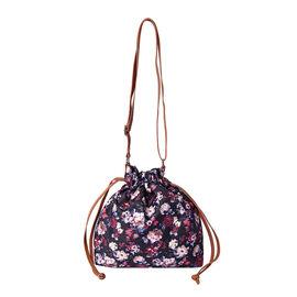 Floral Print Crossbody Bag (30x10x21cm) - Black