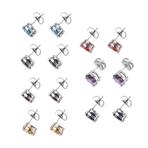Set of 7 - Simulated Amethyst, Simulated Sky Blue Topaz and Multi Gemstone Earrings (with Push Back) in Stainless Steel