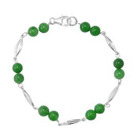 17 Ct Green Jade Station Bracelet in Sterling Silver 7.5 Inch
