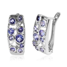 Tanzanite (Rnd) Earrings (with Clasp) in Platinum Overlay Sterling Silver 1.85 Ct,