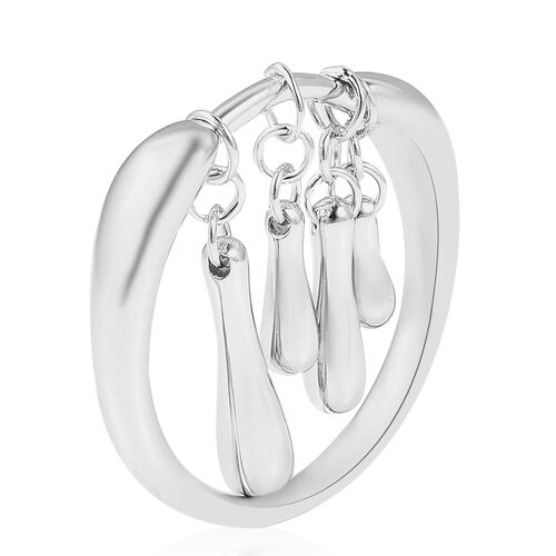 LucyQ Dangling Drip Ring in Rhodium Overlay Sterling Silver