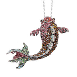 Multi Colour Austrian Crystal Fish Brooch or Pendant With Chain (Size 24) in Stainless Steel