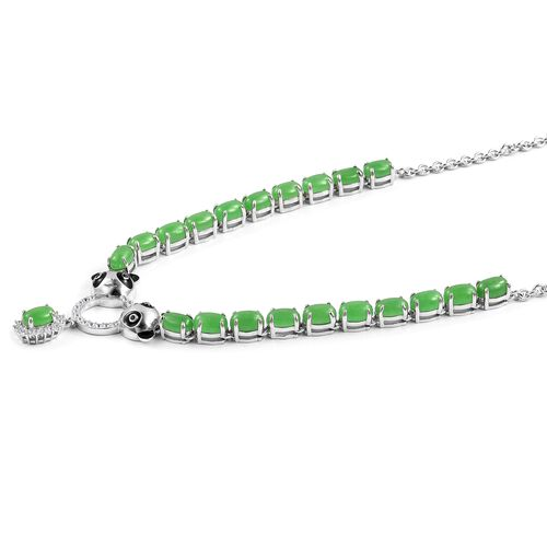 Green Jade (Ovl), Boi Ploi Black Spinel and Natural White Cambodian Zircon Enameled Panda Head Necklace (Size 18) in Rhodium Plated Sterling Silver 13.090 Ct. Silver wt 11.00 Gms.