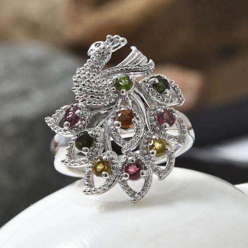 Rainbow Tourmaline (Rnd) Peacock Ring in Platinum Overlay Sterling Silver 0.750 Ct. Silver wt 6.53 Gms.