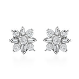 9K White Gold SGL Certified Diamond (I3/G-H) Stud Earrings (with Push Back)