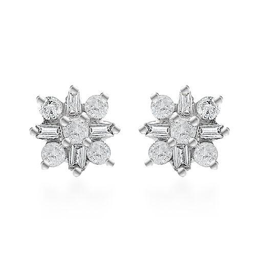 9K White Gold SGL Certified Diamond (I3/G-H) Stud Earrings (with Push Back)