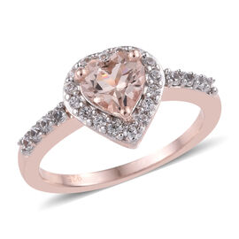 1 Carat Marropino Morganite and Zircon Heart Halo Ring in Rose Gold Plated Silver
