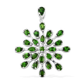 Russian Diopside (Pear and Mrq) Snowflake Pendant in Platinum Overlay Sterling Silver 5.250 Ct, Silver wt 6.08 Gms