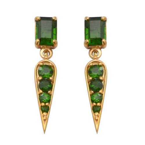 Russian Diopside Earrings (with Push Back) in Yellow Gold Overlay Sterling Silver 2.81 Ct.