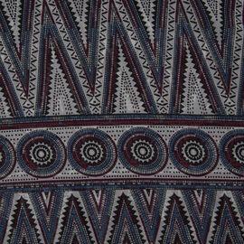 Grey, Blue and Multi Colour Fish Scale Pattern Kimono (Size 85x71 Cm)