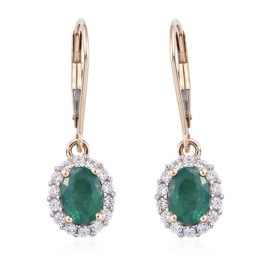 2 Carat Zambian Emerald and Cambodian Zircon Halo Earrings in 9K Gold 2.6 Grams With Lever Back