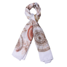 White, Brown and Yellow Colour Round Boho Pattern Scarf (Size 80x180 Cm)