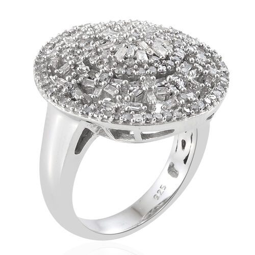 Diamond (Rnd) Cluster Ring in Platinum Overlay Sterling Silver 1.000 Ct, Silver wt 7.34 Gms, Number of Diamonds- 189.