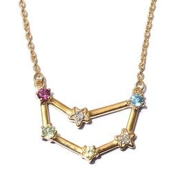Multi gemstones Fancy Necklace in 14K Gold Overlay Sterling Silver 0.29 ct  0.290  Ct.
