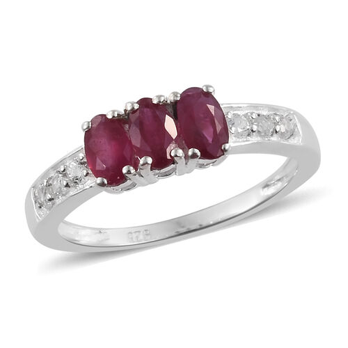 African Ruby (Ovl), White Topaz Trilogy Ring in Sterling Silver 1.250 Ct.
