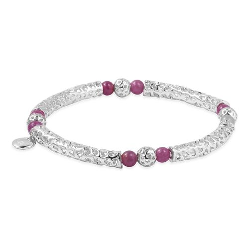 RACHEL GALLEY Burmese Ruby Beads Bracelet (Size 6.5) in Rhodium Overlay Sterling Silver  8.010 Ct, Silver wt 8.83 Gms.