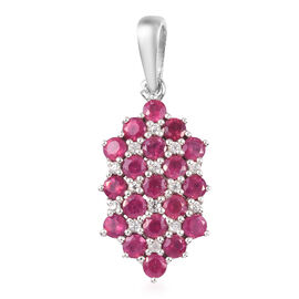 African Ruby and Natural Cambodian Zircon Pendant in Platinum Overlay Sterling Silver 2.00 ct.
