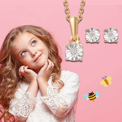 2 Piece Set for Kids Diamond Pendant with 20 Inch Chain and Earrings in Gold Plated Silver