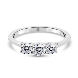 9K White Gold SGL Certified Diamond (I2-I3/G-H) Band Ring 0.54 Ct.