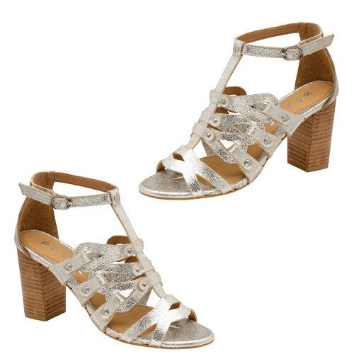Ravel Jackson Leather Heeled Sandals (Size 3) - Silver