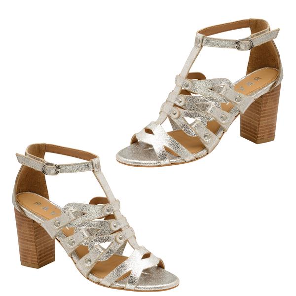 Ravel Jackson Leather Heeled Sandals (Size 7) - Silver